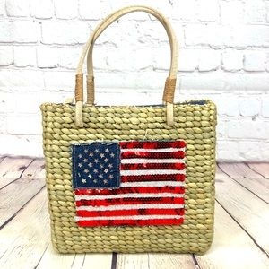 NWOT Woven Basket Style Sequin Flag Hand Bag